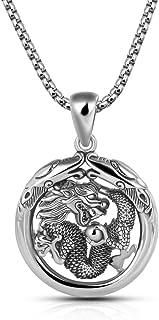 قلادة هدية للرجال 100% من الفضة الإسترلينية 925 على شكل دائرة التنين 18-28 بوصة سلسلة فضية صلبة أنيقة مجوهرات جميلة - إيطاليا