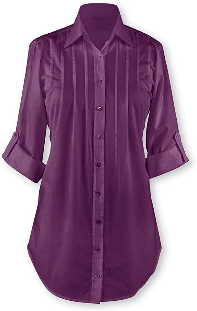 Collections Etc Women's Pintuck Button Front Tunic Top Plum Small