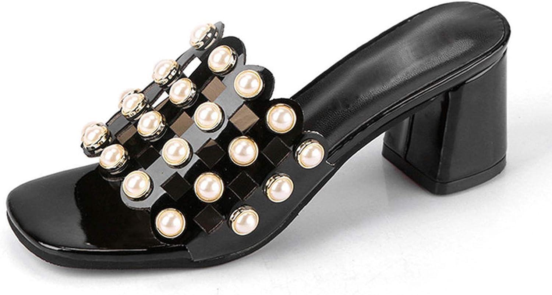 JIESENGTOO 2019 Summer Women Sandals Pearls Beading High Heels Dress Elegant Thick Heels Cut Out Party