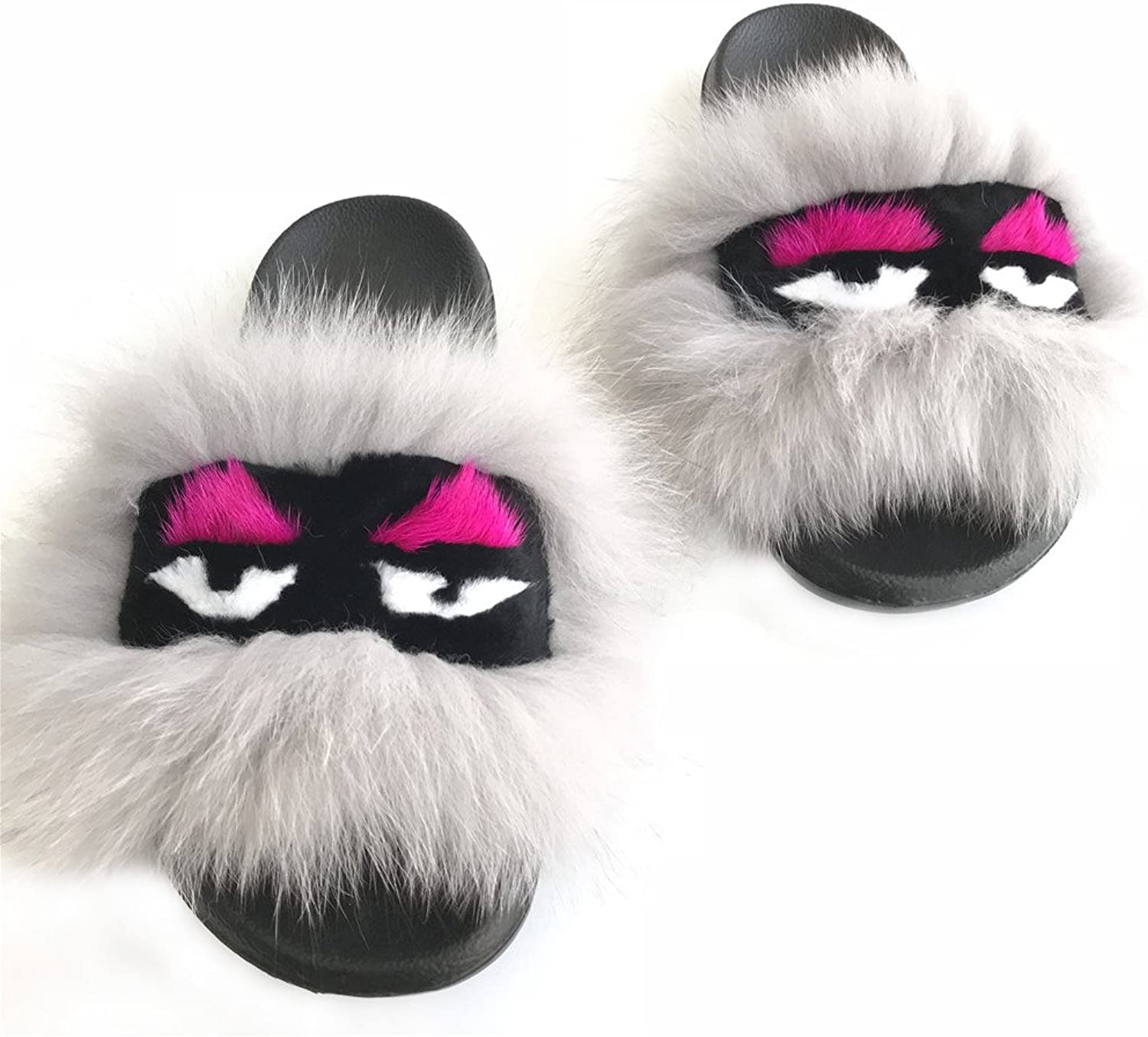 Woman Lady Genuine 100% Real Fox Raccoon Fur Monster Face Slipper Slider Indoor Outdoor Flat Sandals Flip Flops shoes
