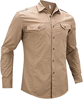 Minghe Men's Long Sleeve Cargo Style Military Dress Shirt