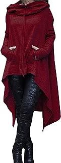 Women's Loose Solid Color Pullover Hoodie Irregular Hem Sweatshirts Dress S-4XL