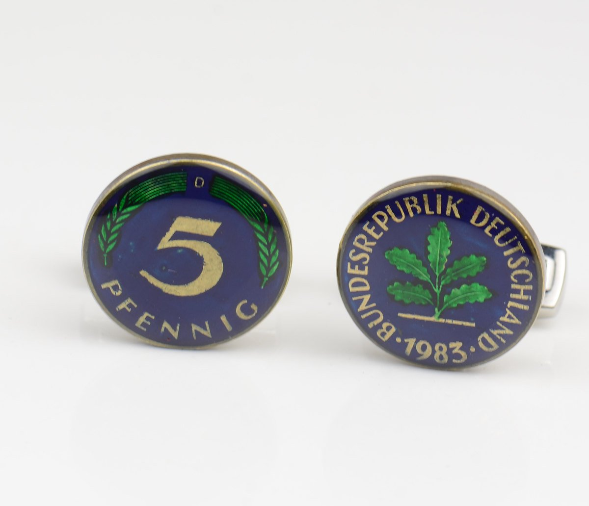 Cufflinks hand Spring new work Long Beach Mall painted coin.Germany enamel