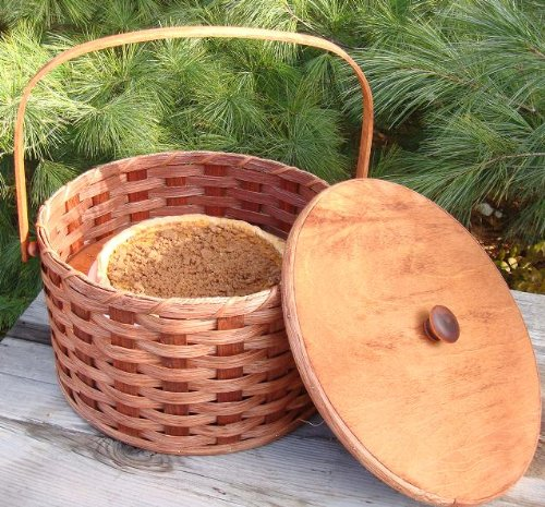 Round Double Pie Carrier Basket with Tray and Lid,...