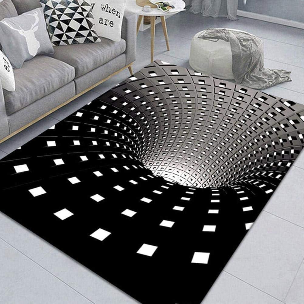 San Francisco Mall 3D Optical Illusion Rectangle Area Checkered White Vor Award-winning store Rug Black