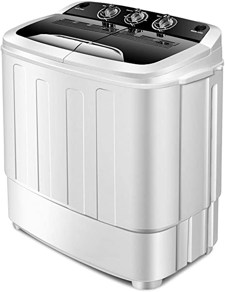 Giantex Portable Compact 13 Lbs Mini Twin Tub Washing Machine Washer Spin Dryer Black White