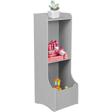 Dioche Étagère de rangement pour jouets, casier à jouets pour enfants, meuble de chambre à coucher, accessoires, 27,4 x 27,4 x 79 cm (Tigre gris)