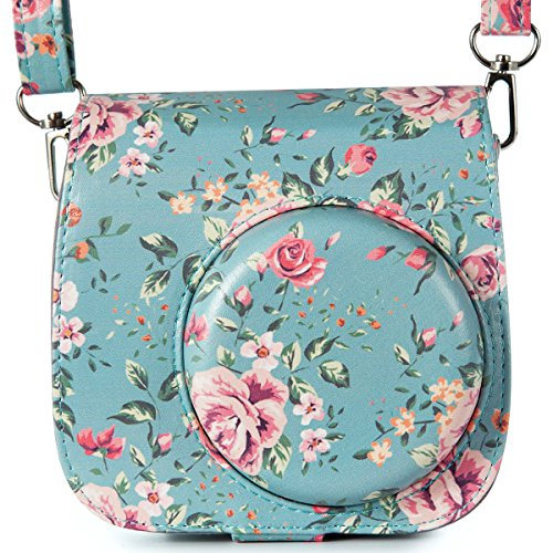 Flylther Compatible with Fujifilm Instax Mini 8 8+ 9 Kamera Tasche mit PU Leder Material (Blume,Gr¨¹n)