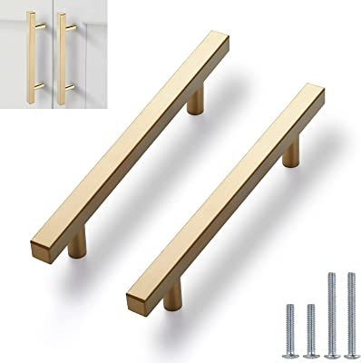 """10 Pack Square Cabinet Pulls Brushed Brass Stainless Steel Cabinet Handles Drawer Pulls 5"""" Length, 3"""" Hole Center"""