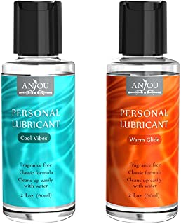 Anjou Premium Personal Lubricant Water-Based, for Women, Men & Couples, 2 x 2 fl.oz