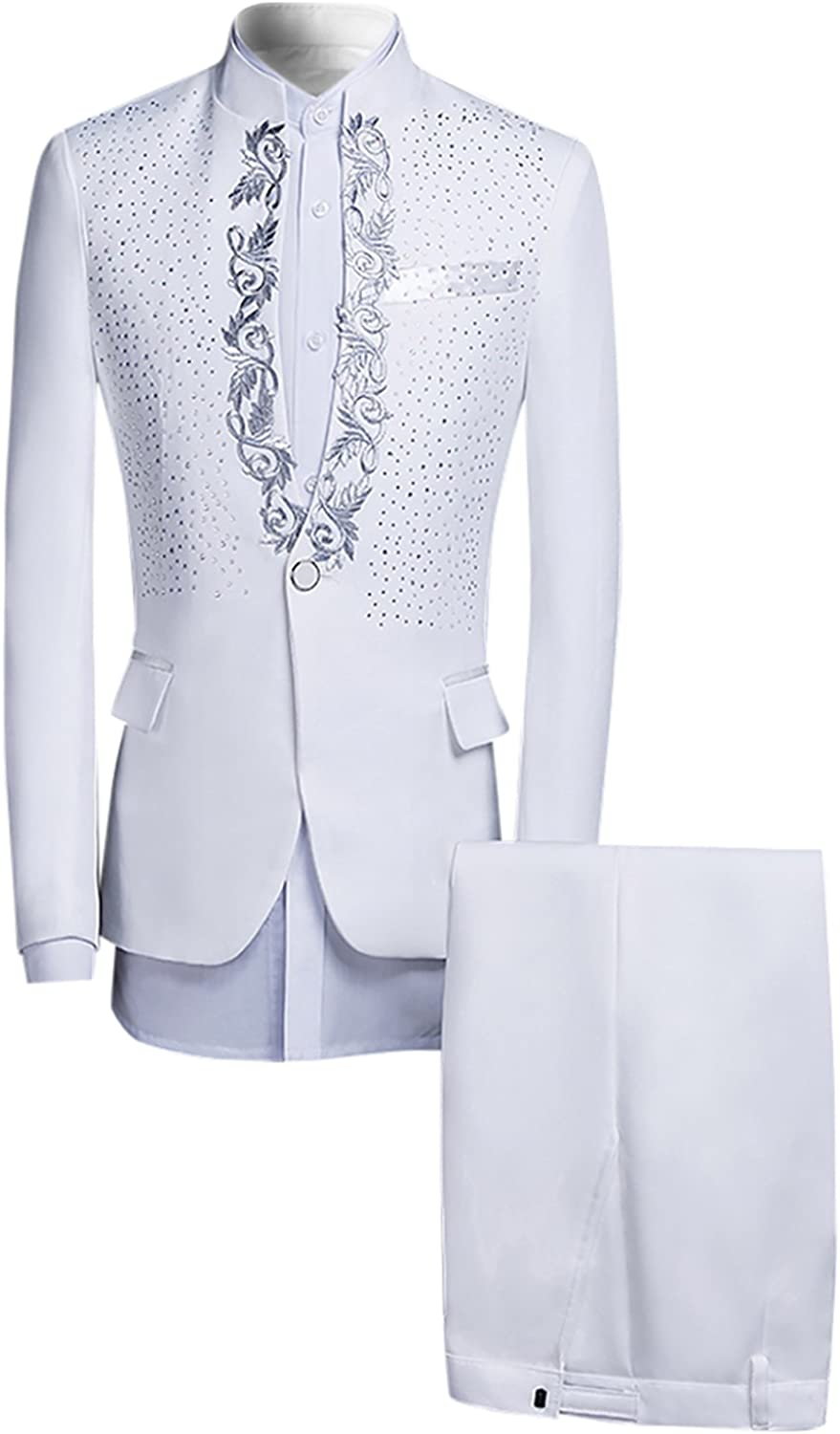 Mens Suits 2-Piece One Button Sequin & Floral Blazer Dinner Jacket and Pants