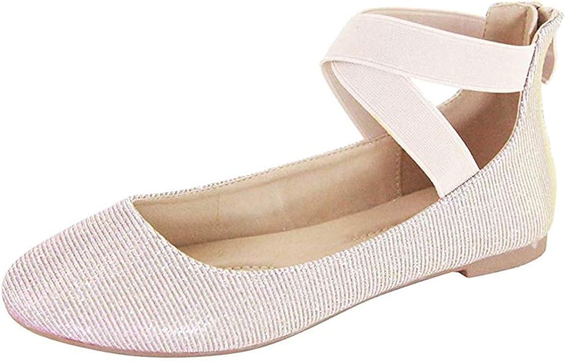 ANNA Dana Women's Brand Cheap Sale Venue Large discharge sale Classic Ballerina Flats Strap Crossing Elastic