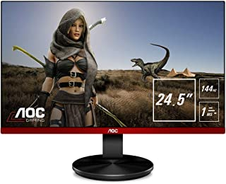 "AOC G2590FX 25"" Framless Gaming Monitor, FHD 1920x1080, 1ms, 144Hz, G-SYNC Compatible+AdaptiveSync, 96% sRGB, DisplayPort/HDMI/VGA, VESA, 25 inch, Black / Red"
