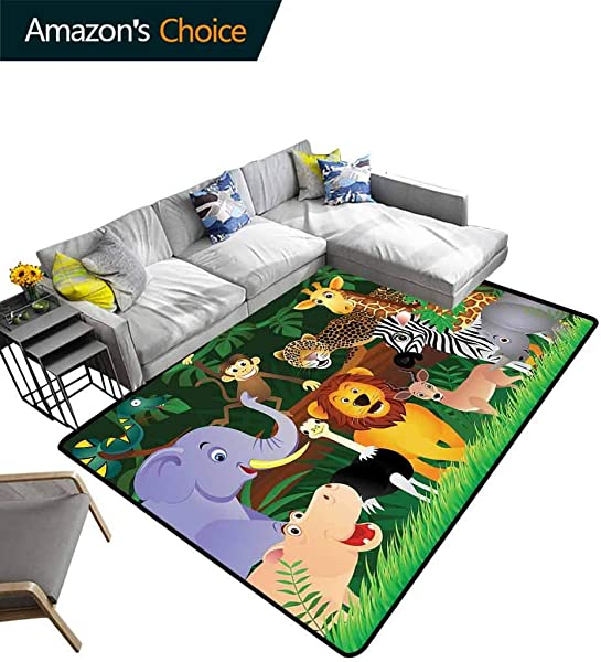 Zoo Paisley Customize Door Mats For Home Mat Animals In The Jungle Funny Expressions Exotic Comic Cheer Natural Habitat Illustration Easy Maintenance Area Rug Living Room Bedroom Carpet 2 5 X 9