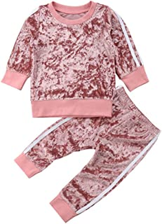 2PCS Toddler Kids Baby Girls Velvet Clothes Outfit Pants Set Autumn Winter Costumes
