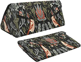 InterestPrint Vintage William Morris Foldable Eyeglasses Case with Magnet Closure Leather Protective Case
