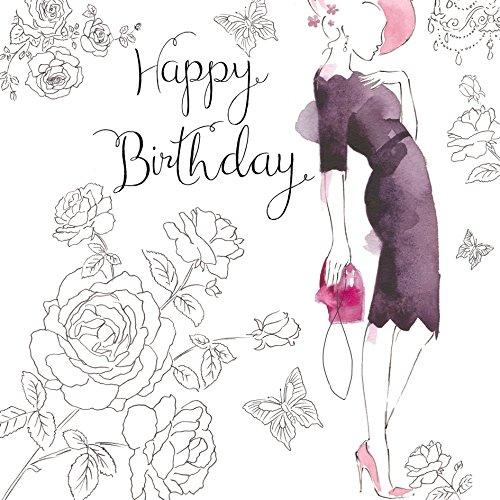 Twizler Geburtstagskarte für Sie mit Swarovski Kristall Finish, Silberfolie & Einzigartiger Aquarell-Effekt – Cocktailkleid – weibliche Geburtstagskarte – Damen Geburtstagskarte