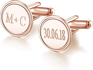 Sterling Silver Personalized Wedding Cuff Links for Men Custom Made with Initial Names Dates Letter Free Engraved