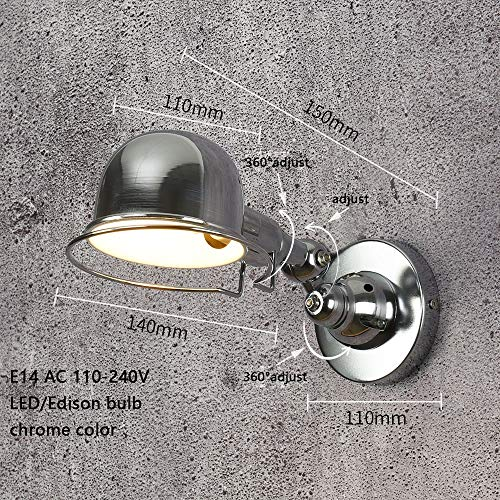 FYSH Soporte de lámpara de Pared para Dormitorio Barra Plegable de Pared de luz e14 mecánica Brazo Francia lámpara de Pared de la Vendimia Reminisce retráctil Doble sin Interruptor Brillo