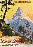 Switzerland, Paris Lyon et la Mediterrane Railway Promo of the Alps, the Matterhorn, Vintage Travel Advertisement (12x18 Art Print, Travel Poster Wall Decor)