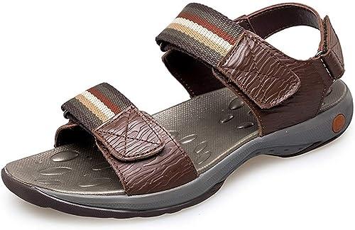 Sandales Mode pour Hommes Sandales Décontracté Simple Léger Eté Non-Slip été été Chaussures paniers Et Chaussures De Plein Air D'été Sandales (Couleur   Marron, Taille   47 EU)