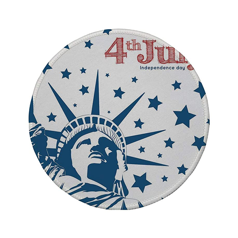 Non-Slip Rubber Round Mouse Pad,4th of July Decor,Murky Old American Flag Background with Stars Abstract US Artful Image,Blue Red,11.8