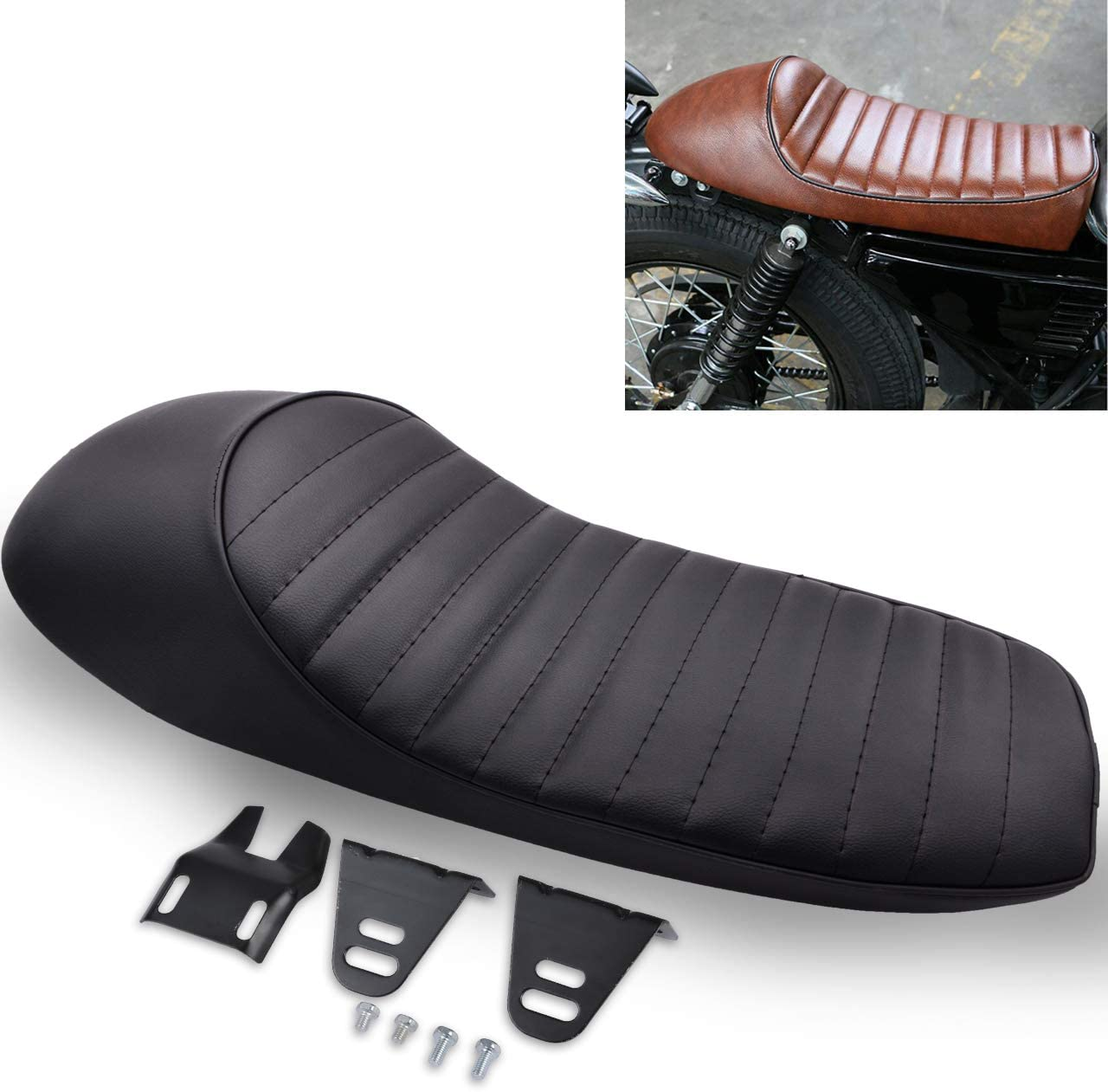 Katur Motorrad Cafe Racer Sitz Hump 24 5 Vintage Sattel Sitze Für Honda Cb Gb Gl Cbr Suzuki Gs Yamaha Xj Xj550 Xt500 Xs650 Sr500 Rd40 Auto
