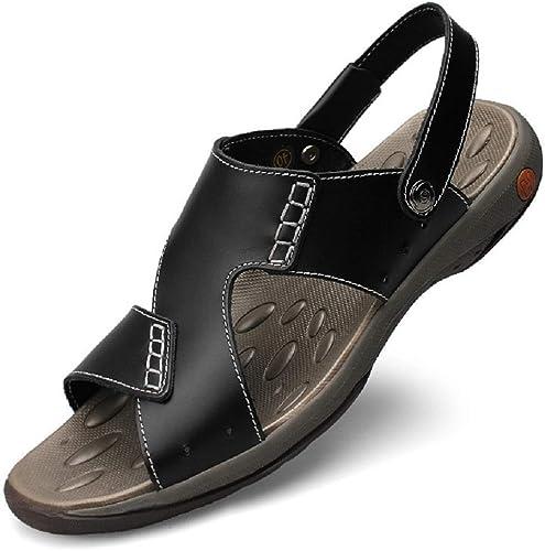 DDSHYNH Confortable à La Main Hommes Sandales en Cuir Véritable été Doux Male Chaussures Rétro Décontracté Plage Sandales Chaussures Chaussures pour Hommes