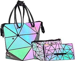 3 PC Women Geometric Luminous Purse Holographic Purse and Handbag Mini Wallet