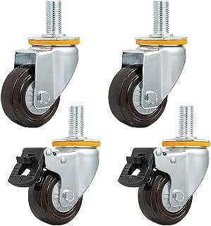castors 7,5 cm tunga hjul, M20 x 40 mm gängade gummivjul tysta universella svängbara 75 mm möbelhjul med bromshjul för kyl...