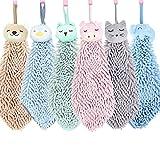 6 Pack Cute Chenille Soft Hanging Hand Towels, Funny Cat, Pig, Owl, Penguin, Elephent, Bear Washcloths, Absorbent Thick Kitchen&Bathroom Microfiber Towel Bulk (Grey+Pink+Green+Sky Blue+Orange