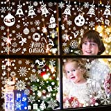 252 Pcs Christmas Snowflake Window Clings Decal Stickers - Xmas Holiday Window Clings for Glass Windows Christmas Window Decorations Ornaments Party Supplie