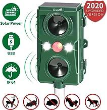 CrazyFire Repelente para Gatos, Repelente Ultrasónico para Animales con Carga Solar&USB Sensor de Movimiento y Luz Intermitente Detector Repelente Gatos para Perros, Aves, Ardillas, Topos, Ratas