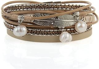 Feather Wrap Bracelet Leather Cuff Bracelet Bohemian Jewelry Gifts for Women Teen Girls