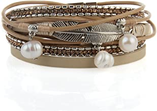 Jenia Feather Leather Cuff Bracelet Magnetic Multi Strand Bracelet Wrap Bracelet Bohemian Jewelry Gifts for Women, Wife, Sister