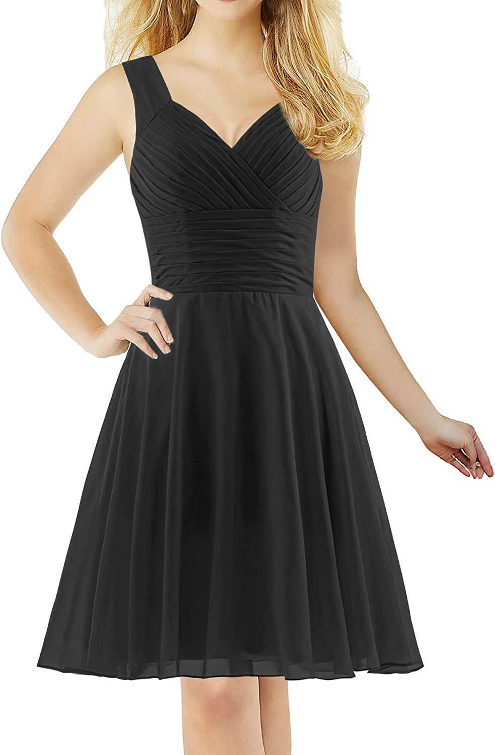 ANTS Women's Pleated Sweetheart Bridesmaid Dresses A Line Cocktail Gown