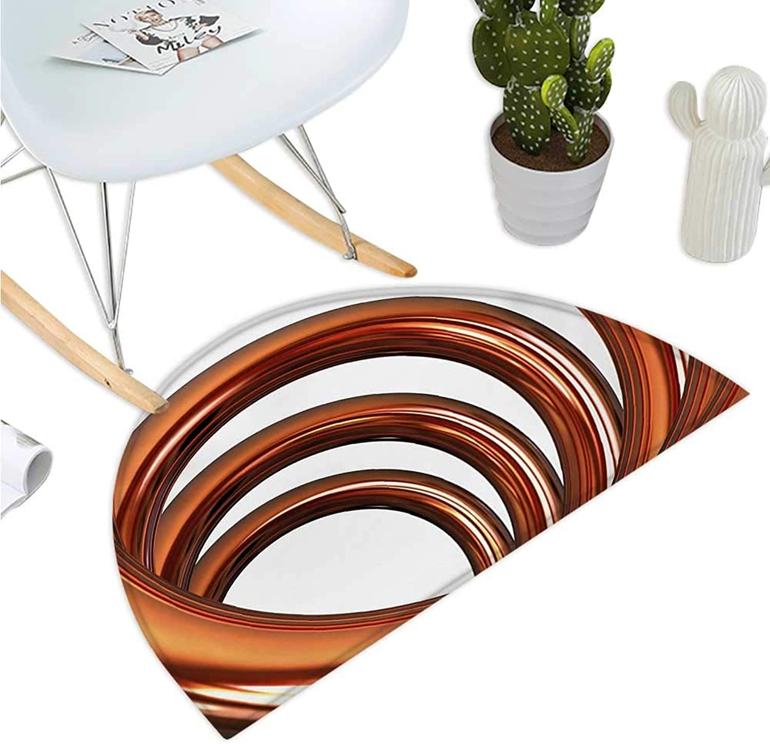 Abstract Semicircular Cushion Helix Coil Curved Spiral Pipe Swirled Shape on White Backdrop Print Halfmoon doormats H 35.4  xD 53.1  Dark orange and White