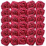 Homcomodar Fleurs Artificielles Rouge Foncé Rose 30pcs Vrai Recherche Faux Roses avec Tige de Mariage DIY Bouquets Centres de Table Arrangement Parti Home Décor