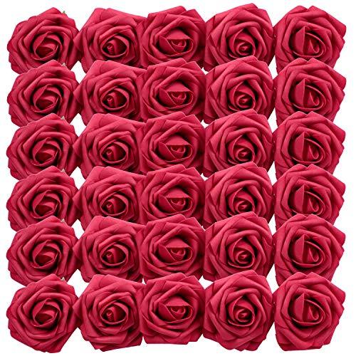 Homcomodar Dunkelrot Künstliche Rose 30Pc Künstliche Blume Gefälschte Rosen für Die Hochzeit(Dunkelrot)
