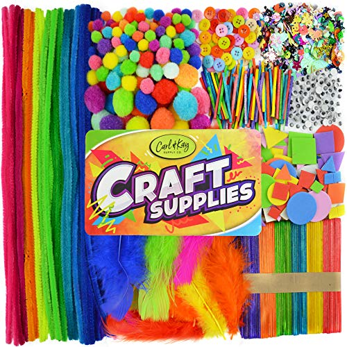 Carl & Kay [1750+ pcs] Arts & Crafts Supplies | Craft Supplies for Kids | Toddler Crafts & Sensory Items | Toddler Art Supplies | Craft Supplies for Adults | Busy Box & Sensory Bin Items