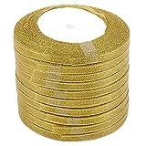 YHFJB 1 set / 10 rollos de cinta de Navidad para envolver regalos, hogar, árbol de Navidad, flores, manualidades, corona dorada de 0,6 cm
