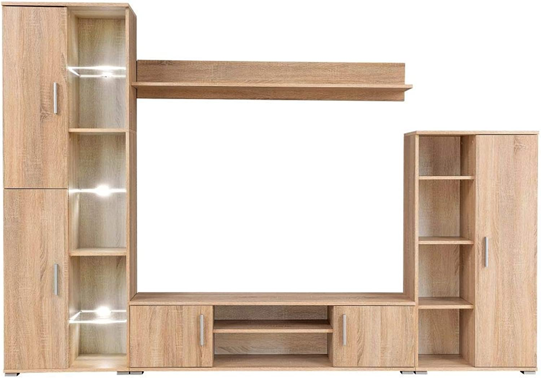 Festnight- Fernsehschrank TV Wohnwand mit LED-Leuchten Wohnzimmerschrnke Sonoma Eiche
