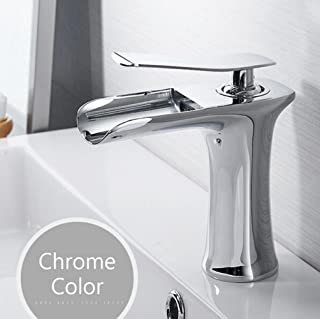 WG Basin Faucets Waterfall Bathroom Faucet Single Handle Basin Mixer Tap Bath Antique Faucet Brass Sink Water Crane Silver,Gray