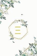 """Ξ: ξ Xi, Initial Monogram Greek Alphabet Letter Ξ Xi, Cute Interior Leaves Decoration, Lined Notebook/Journal, 100 Pages, 6""""x9"""", Soft Cover, Matte Finish"""