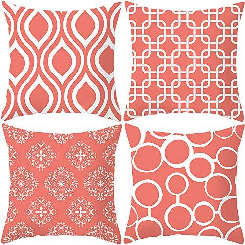 4 Sätze Kissenbezüge quadratisches dekoratives Schlafsofa mit verdecktem Reißverschluss-Kissenbezug