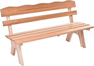 wooden garden seat with table