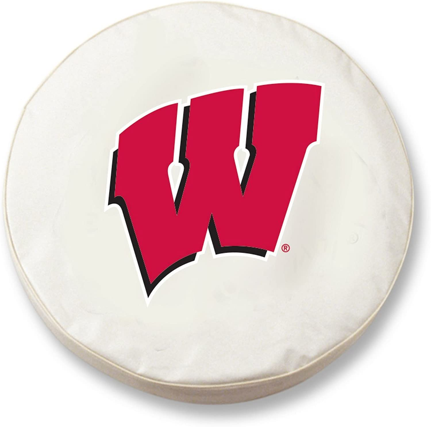 Wisconsin Badgers HBS W White Vinyl Fitted Car Tire Cover