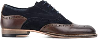 Goodwin Smith Mens Darwen Navy Suede Brown Leather Washed Oxford