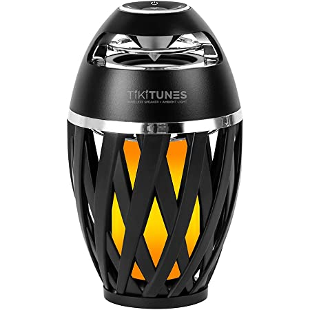 TikiTunes Portable Bluetooth 5.0 Indoor/Outdoor Wireless Speakers, LED Torch Atmospheric Lighting Effect, 5-Watt Audio USB Speakers, 2000 mAh Battery for iPhone/iPad/Android (Set of 2)