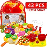 Kitchen Toys Cutting Fruit Vegetables Play Fun Cooking Little Stove top, Pot and Utensils 43 Pieces Pizza & Knife Toy, Cutting Board. Pretend Cutting Food Playset Carry Bag for Girls Boys Toddler,